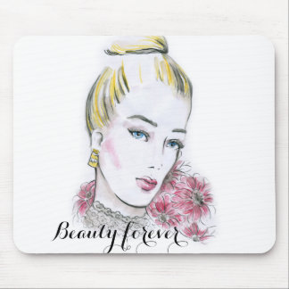 Fashion wedding watercolor illustration mouse pad