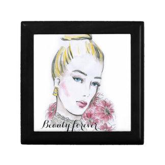 Fashion wedding watercolor illustration small square gift box