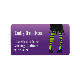 Fashion witch costume stripe leg Halloween address Address Label