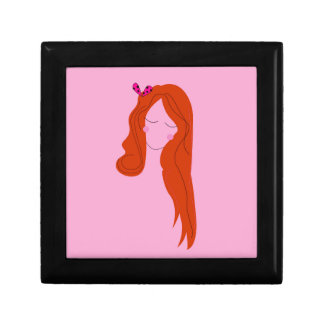 Fashion woman pink with long hair gift box