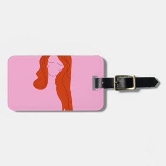 Fashion woman pink with long hair luggage tag
