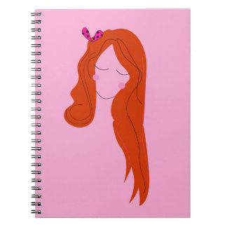 Fashion woman pink with long hair notebook