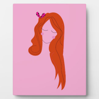 Fashion woman pink with long hair plaque