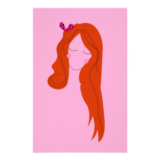 Fashion woman pink with long hair stationery