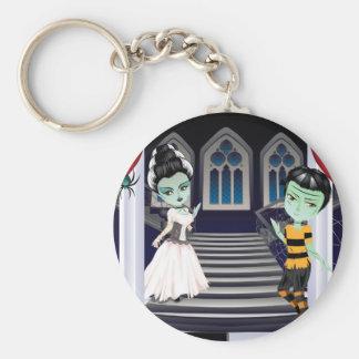 Fashion Zombie Couple near Stairs2 Basic Round Button Key Ring