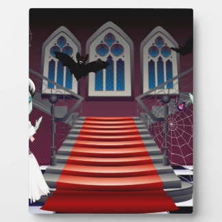 Fashion Zombie Couple near Stairs Photo Plaque