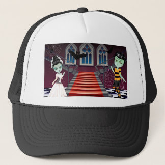 Fashion Zombie Couple near Stairs Trucker Hat