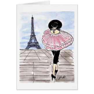 Fashionable and Pink in Paris Greeting Card