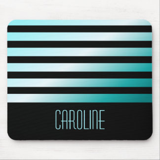 Fashionable aqua blue stripes black personalized mouse pad