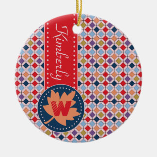 Fashionable Autumn Fall Geometric Pattern Monogram Ceramic Ornament