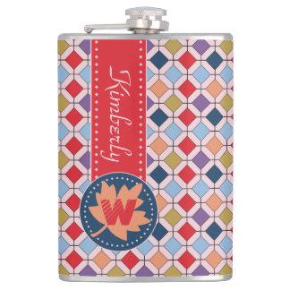 Fashionable Autumn Fall Geometric Pattern Monogram Hip Flask