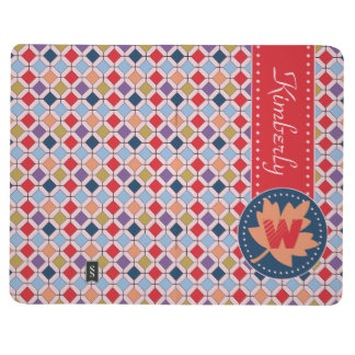 Fashionable Autumn Fall Geometric Pattern Monogram Journal