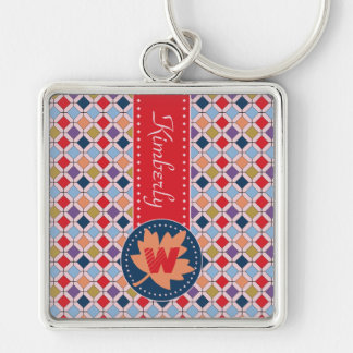 Fashionable Autumn Fall Geometric Pattern Monogram Key Ring