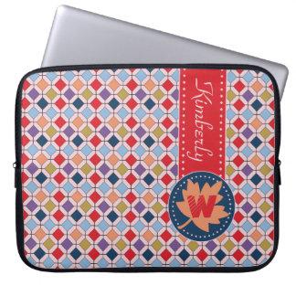 Fashionable Autumn Fall Geometric Pattern Monogram Laptop Sleeve