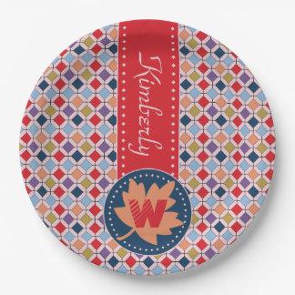 Fashionable Autumn Fall Geometric Pattern Monogram Paper Plate