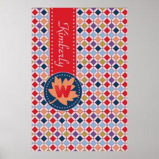 Fashionable Autumn Fall Geometric Pattern Monogram Poster