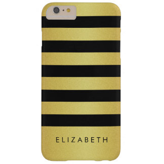 Fashionable Black and Gold Glitter Stripes Barely There iPhone 6 Plus Case