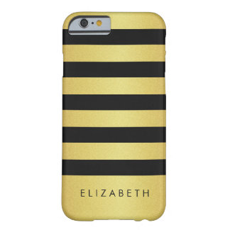 Fashionable Black and Gold Glitter Stripes Barely There iPhone 6 Case