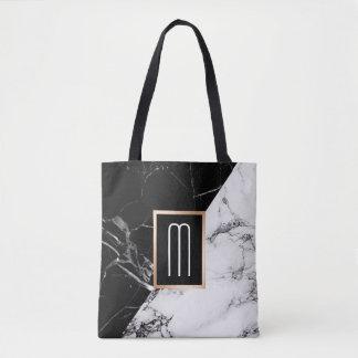 Fashionable Black White Marble Texture Monogram Tote Bag