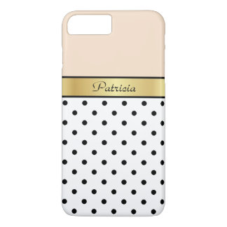 Fashionable, Chic Linen Peach Polka Dots. Elegant iPhone 7 Plus Case
