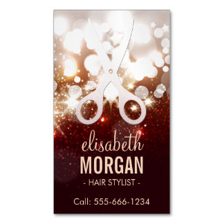 Fashionable Hair Stylist - Gold Glitter Sparkle Magnetic Business Cards