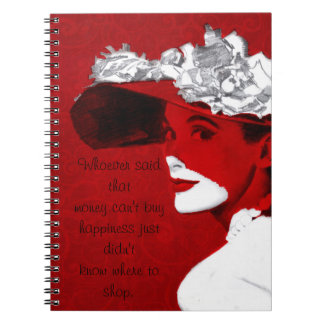Fashionable Lady In Red Notebook
