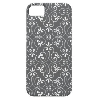 Fashionable ornate damask pattern white and gray case for the iPhone 5