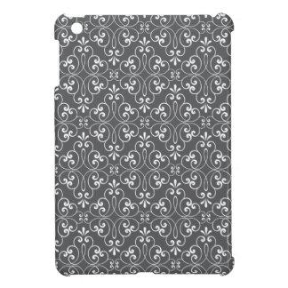Fashionable ornate damask pattern white and gray iPad mini cases