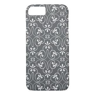 Fashionable ornate damask pattern white and gray iPhone 7 case