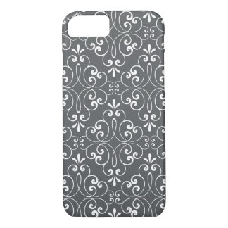 Fashionable ornate damask pattern white and gray iPhone 8/7 case