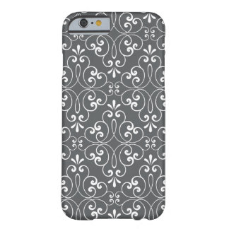 Fashionable ornate damask pattern white and grey barely there iPhone 6 case