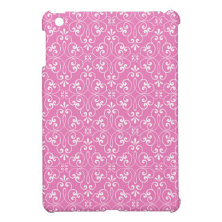 Fashionable ornate damask pattern white and pink case for the iPad mini