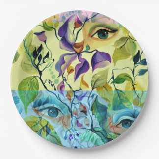 Fashionable painted  eyes 9 inch paper plate