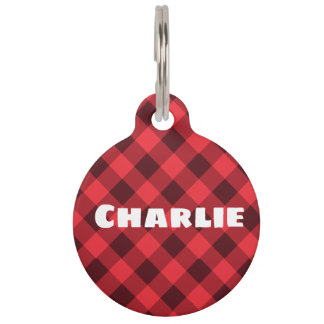 Fashionable Personalized Pet ID Tag in Red Plaid.
