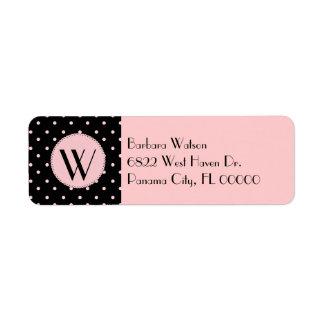 Fashionable Pink & Black Monogram Return Address Label