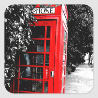 Fashionable Red London Postal Box Square Sticker