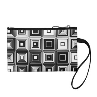 Fashionable Retro look black white Coin  clutch Change Purses