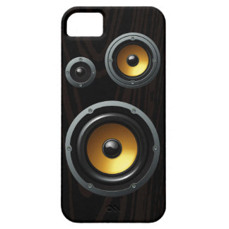 Fashionable Retro Wood Grain Speaker Trio Barely There iPhone 5 Case