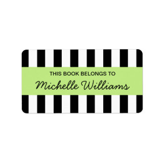Fashionable stripes lime green panel bookplates address label