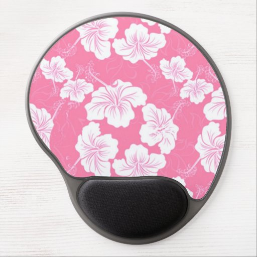 Fashionable White Floral on Baby Pink Gel Mouse Mat