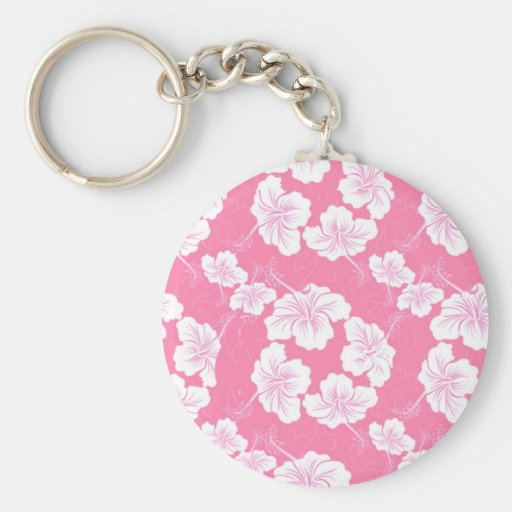 Fashionable White Floral on Baby Pink Key Chains