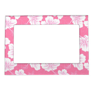 Fashionable White Floral on Baby Pink Magnetic Picture Frames