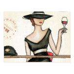 Fashionable Woman and Wine Glass Postcard