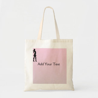 Fashionista in Pink and Grey Budget Tote Bag