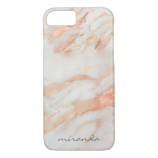 Fashionista Pink and White Marble with Name iPhone 8/7 Case