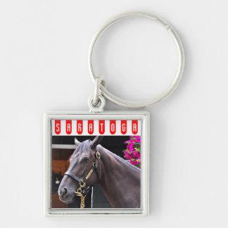 Fasig Tipton Select Sales at Saratoga Silver-Colored Square Key Ring