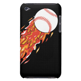 fast baseball on fire flames barely there iPod cover
