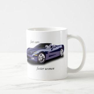 fast cars, faster women classic white coffee mug