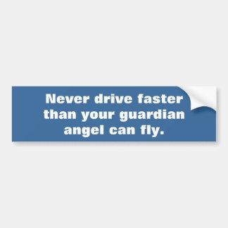 Fast driver vs guardian angel bumper sticker