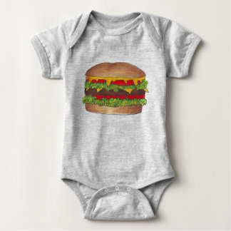 Fast Food Burger Hamburger Cheeseburger Foodie Baby Bodysuit
